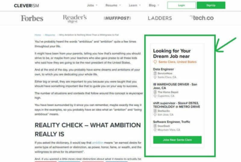 Blog sidebar example