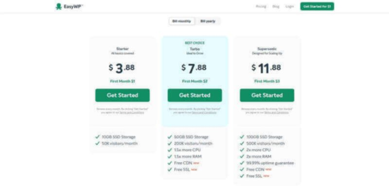 EasyWP - Pricing