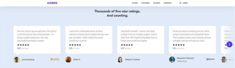 Kinsta - Testimonials and customer ratings