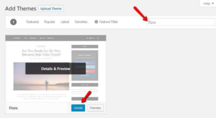 Install WP theme for new blog