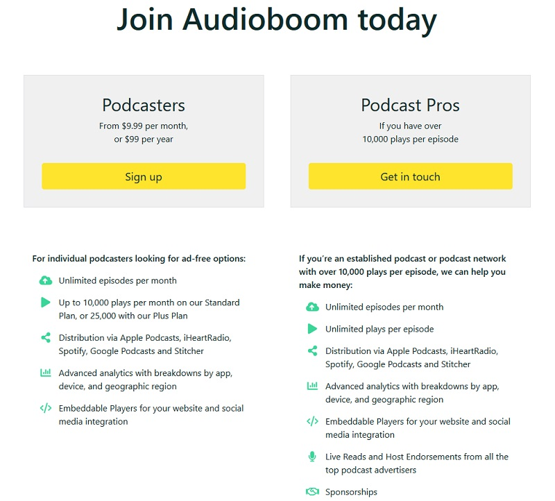 AudioBoom - Pricing
