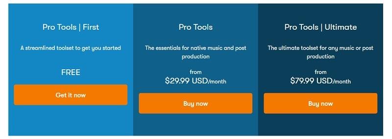 Avid Pro Tools - Pricing