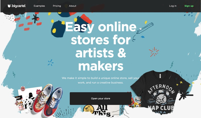 Bigcartel online shop for artists and handicrafts
