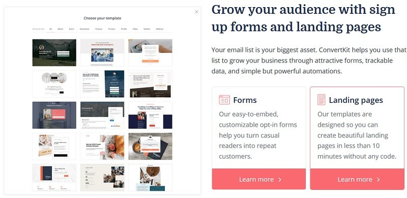 Grow your audience with email sign-up forms and landing pages