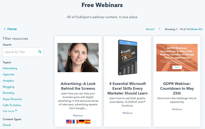 HubSpot - Free webinars for collecting emails
