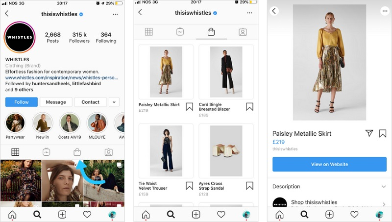 Instagram - shopping bag icon on profile
