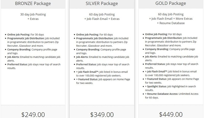 InsuranceJobs - pricing packages