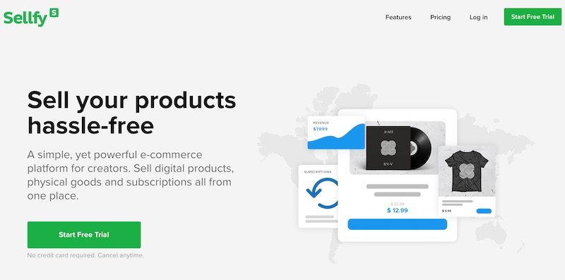 Sellfy online shop software