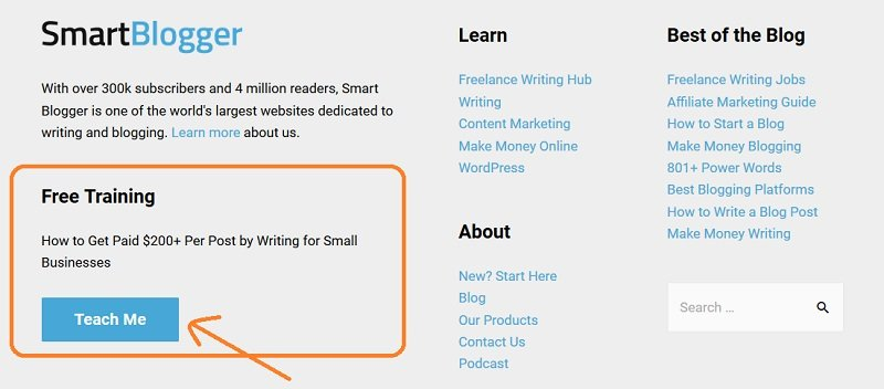 SmartBlogger - email subscription in the footer