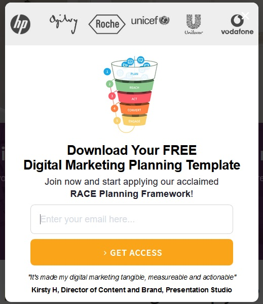 SmartInsights - popup subscription form