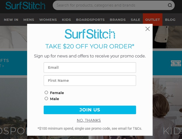 SurfStitch email signup form