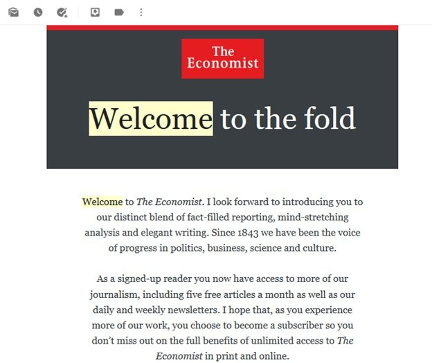The Economist - Welcome email series