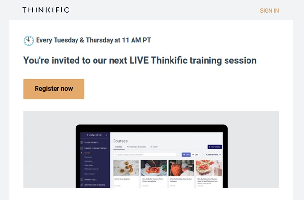 Thinkific - email example