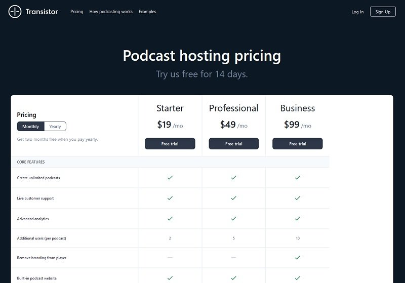 Transistor - Podcast Hosting Pricing