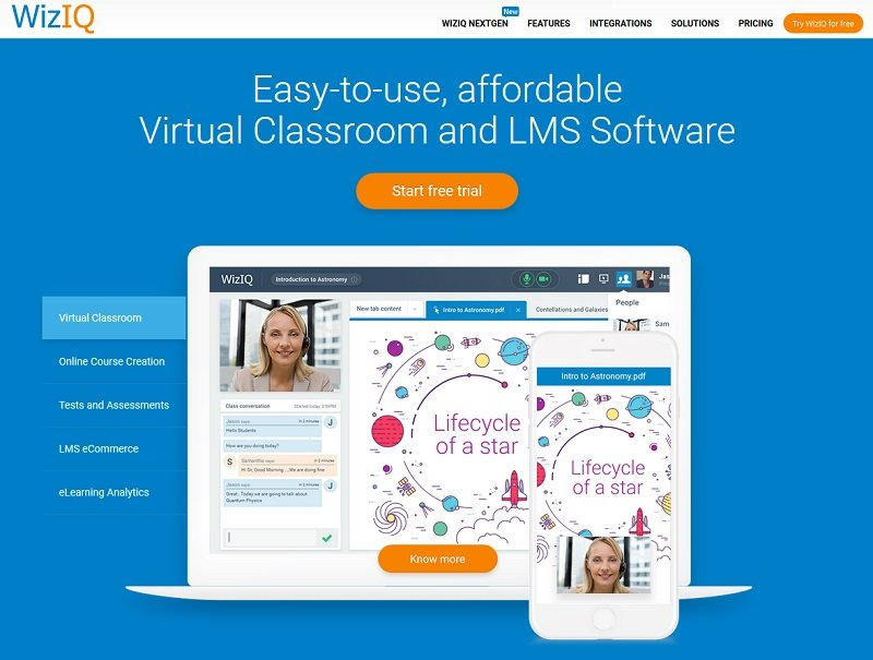 WizIQ virtual classroom and LMS software