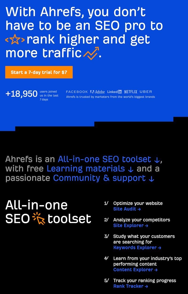 Ahrefs - homepage