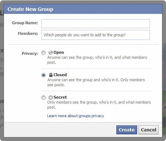 Facebook - Create new group