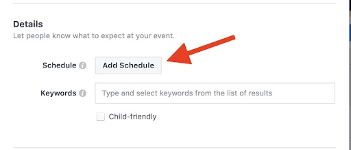 Facebook - creating new event