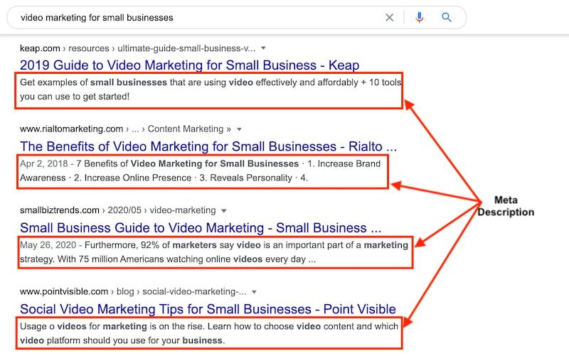 Meta description in search results