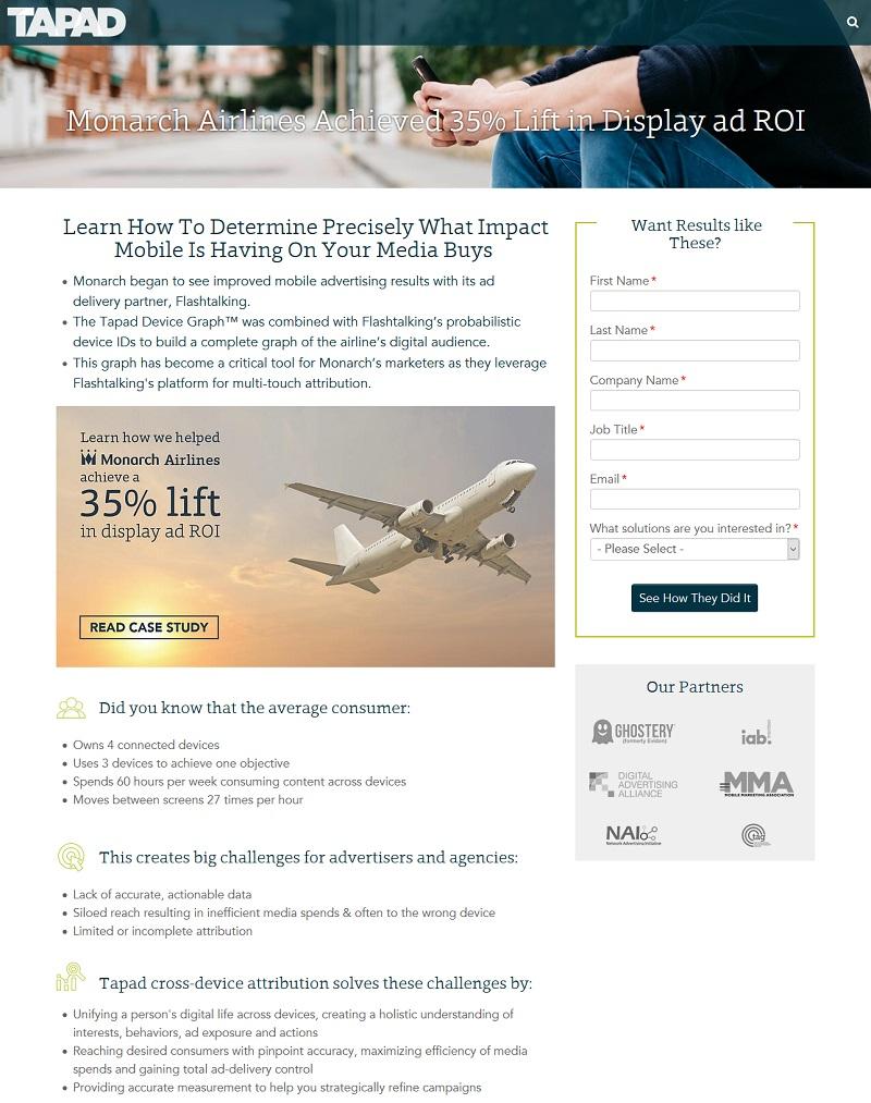 TAPAD landing page