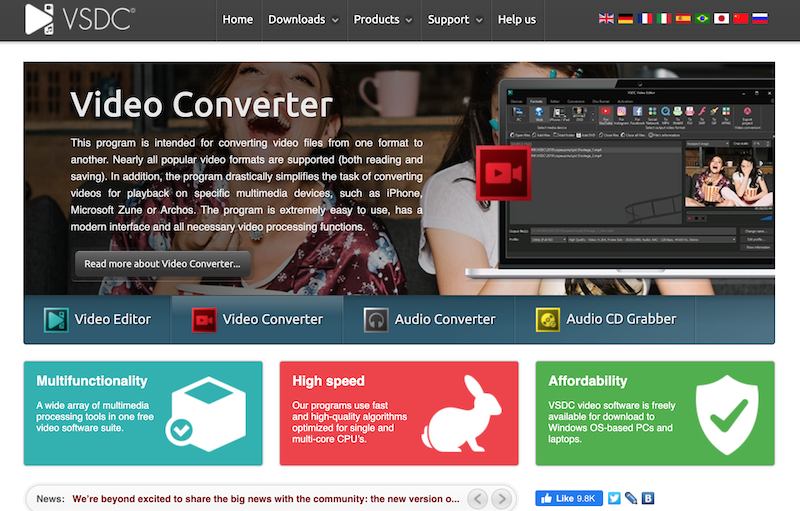 VSDC best video editing software for GoPro footage