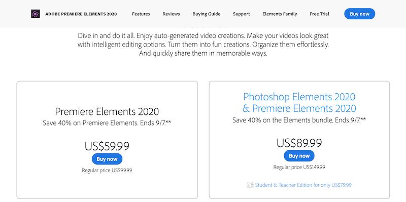 adobe premiere elements pricing plan