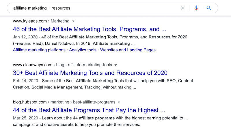 affiliate marketing resource search results