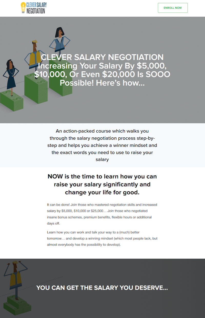 clever salary negotiation course sales page