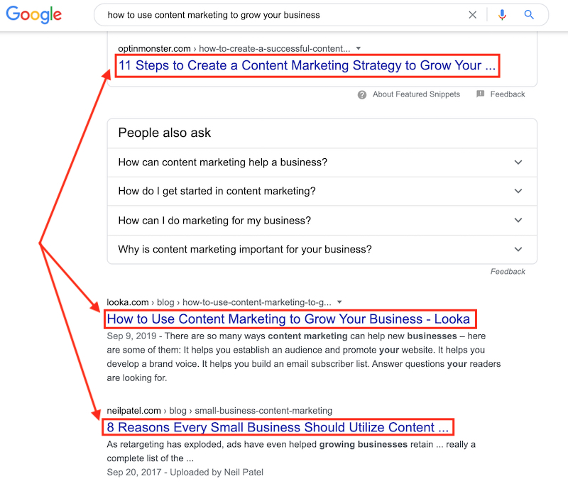 Using keyword in title tag