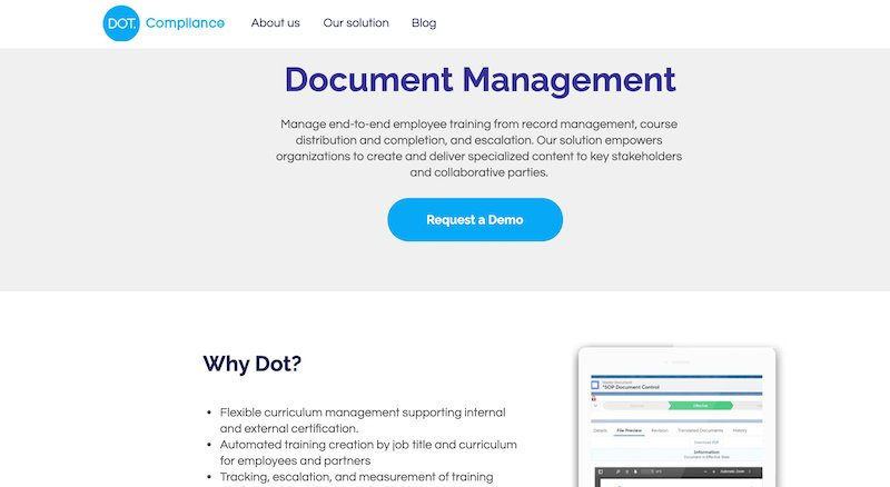 dot compliance integrated quality management and document management