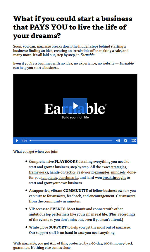 earnable course sales page