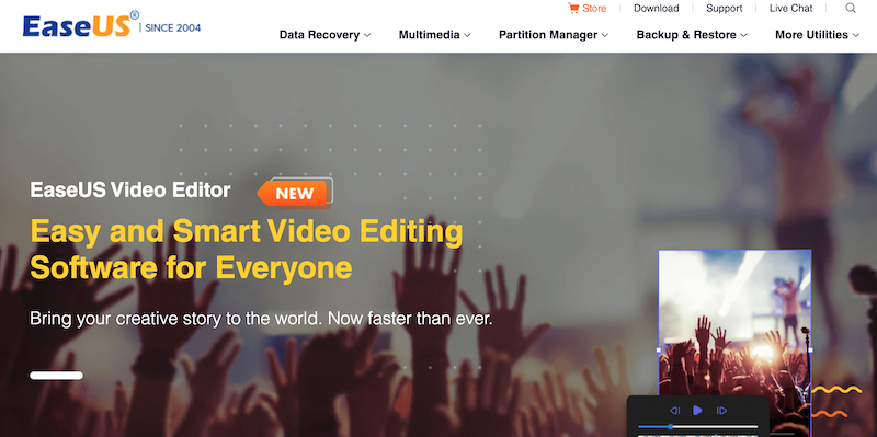 EaseUS video free video editor for windows