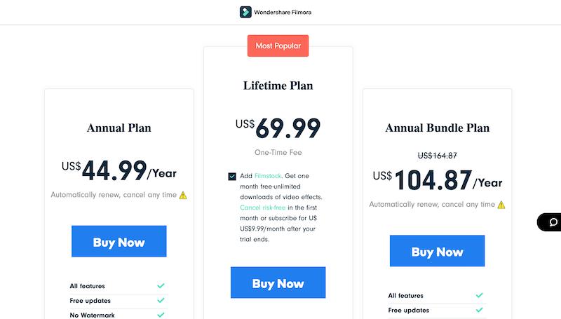 filmora pricing plan