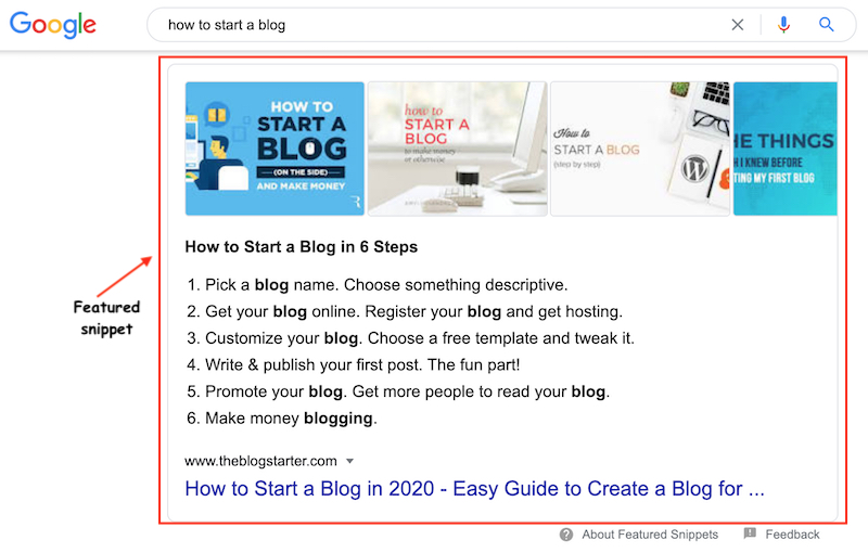 """featured snippet search result for """"how to start a blog"""""""