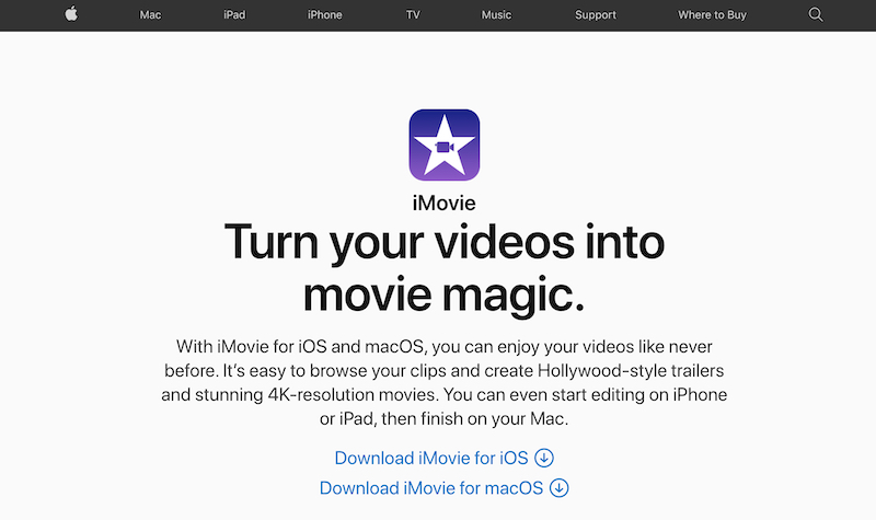 Apple iMovie free video editing software for mac