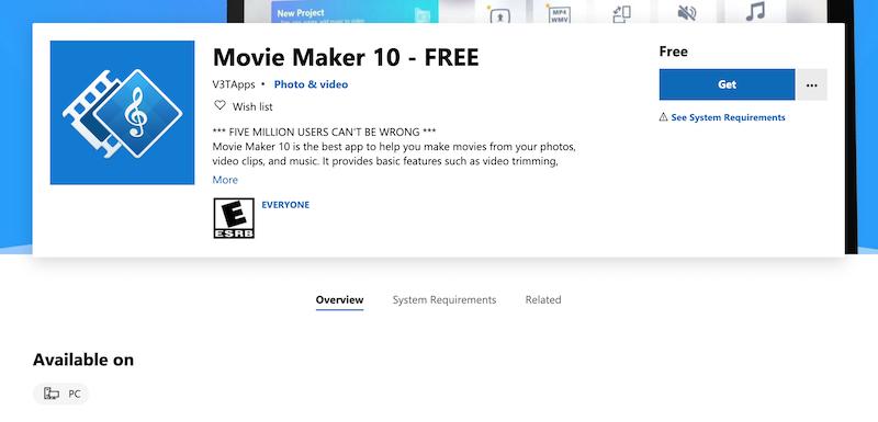 Windows Movie Maker 10 free video editing tool