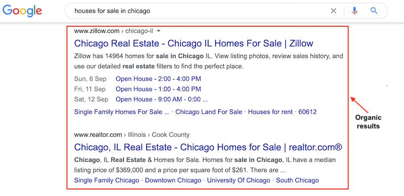 organic Google search results