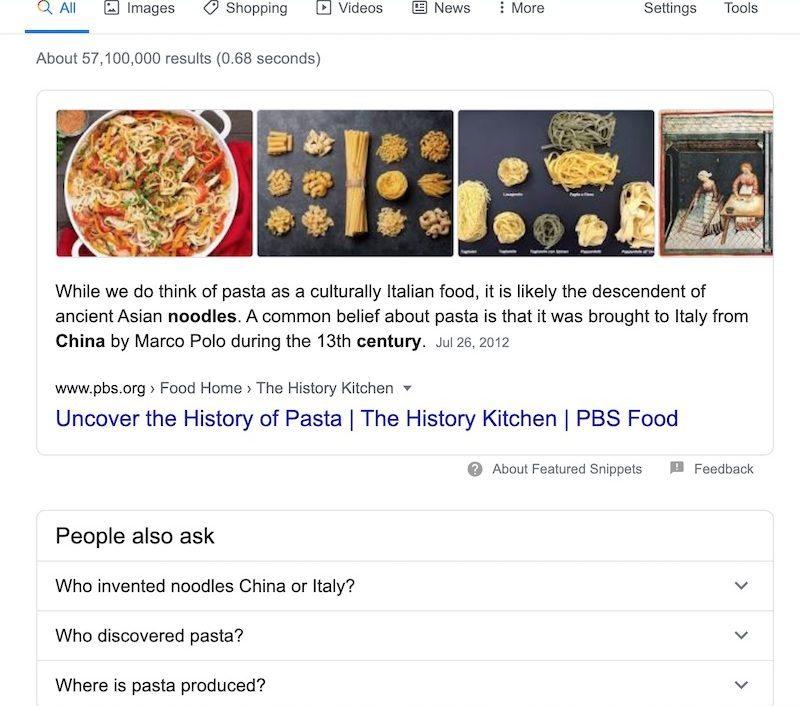 pasta origin google search result