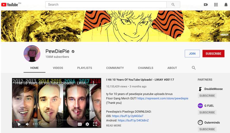 pewdiepie YouTube influencer