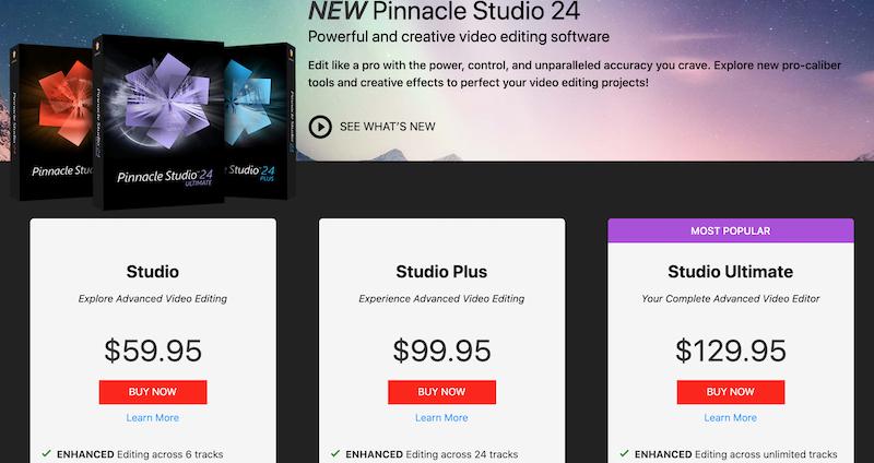 pinnacle studio pricing plan