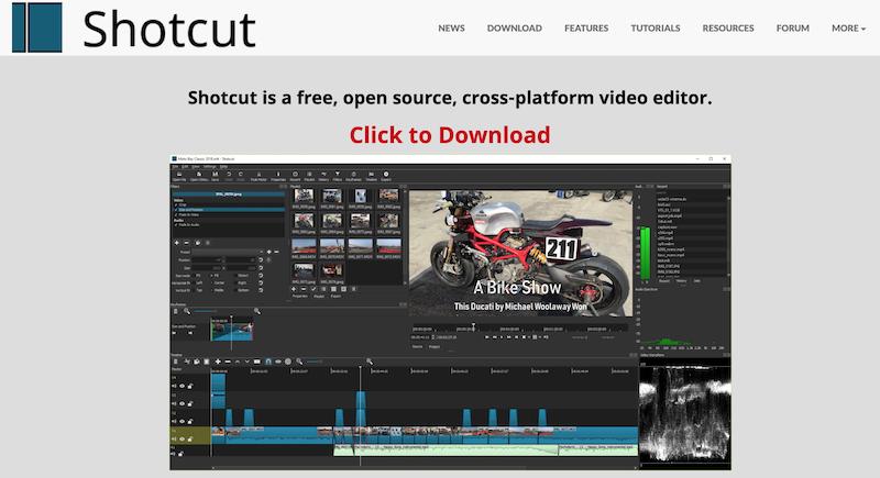 shotcut open source video editing software