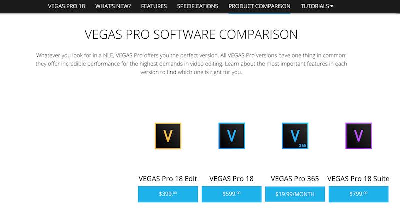 sony vegas pro software comparison
