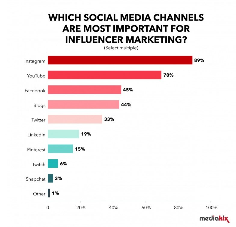 Social media channels important for influencer marketing