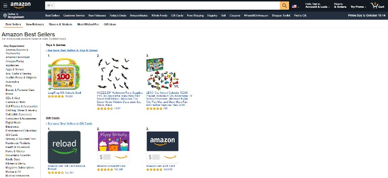 Amazon.com Best Sellers page