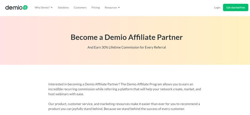Demio affiliate program