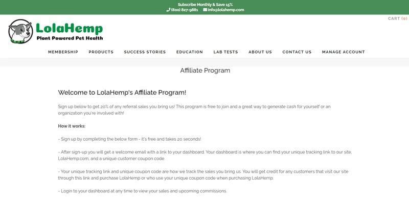 LolaHemp Affiliate Program