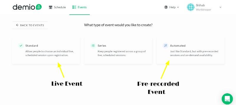 Choose webinar event type