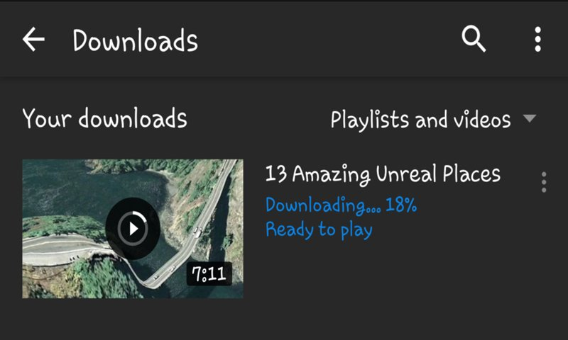 Downloading progress in downloads option