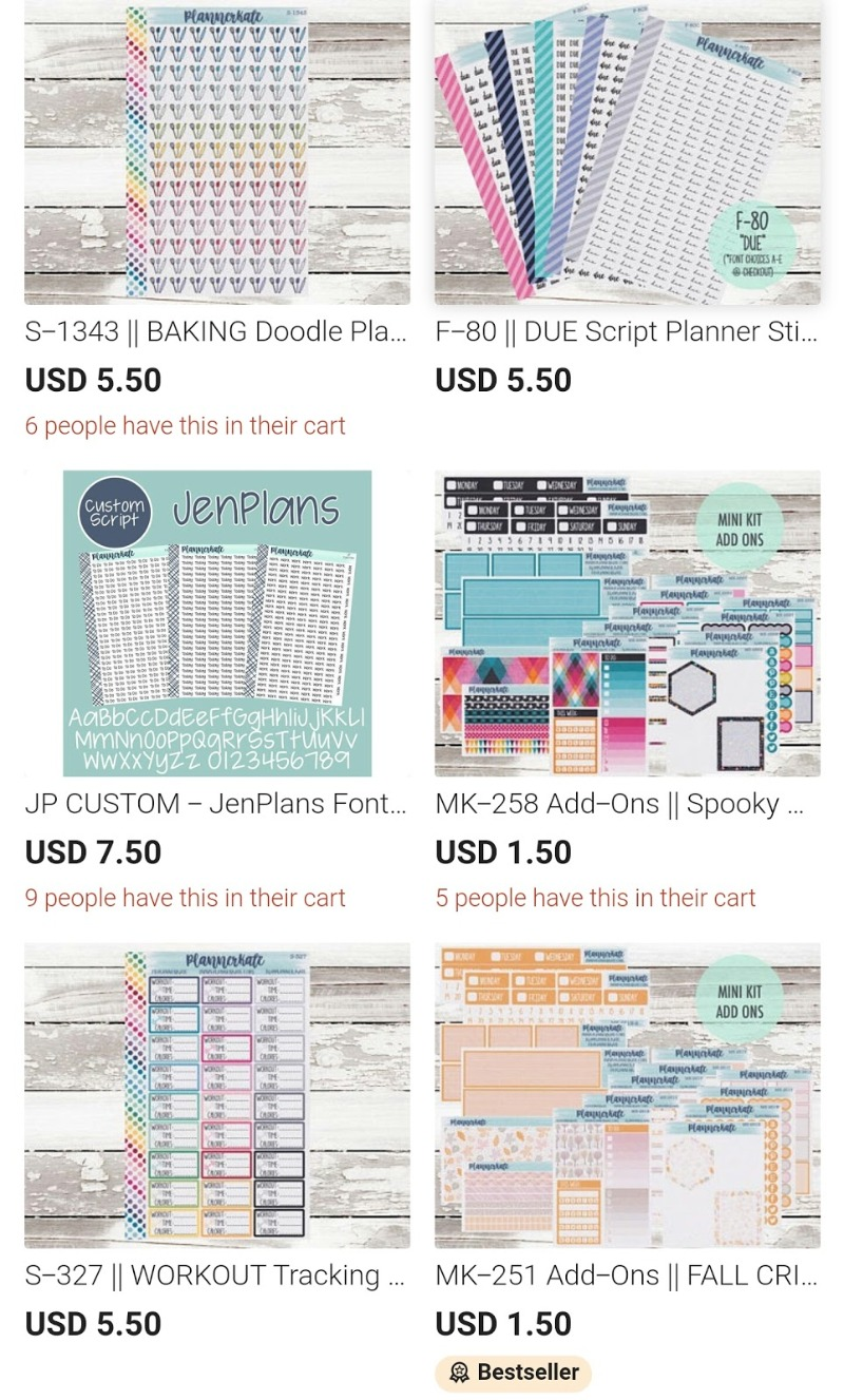 stickers and planners