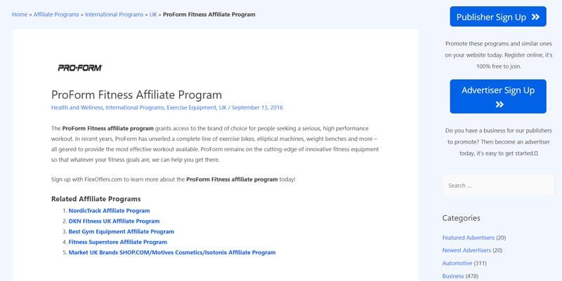 PROFORM Affiliate Programs